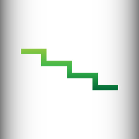 high way: Stair down sign. Green gradient icon on gray gradient backround.
