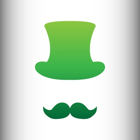 masculinity: Hipster style accessories design. Green gradient icon on gray gradient backround.