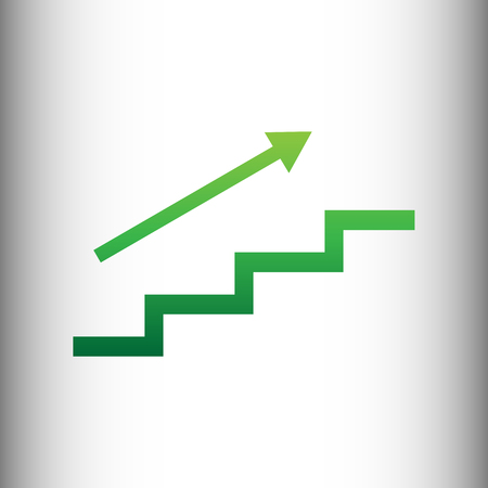 stair: Stair with arrow. Green gradient icon on gray gradient backround.