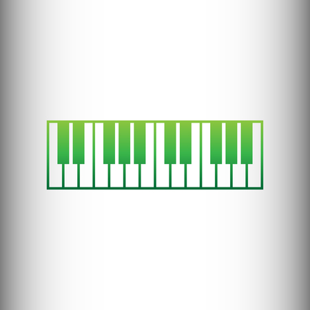 clavier: Piano Keyboard sign. Green gradient icon on gray gradient backround. Illustration