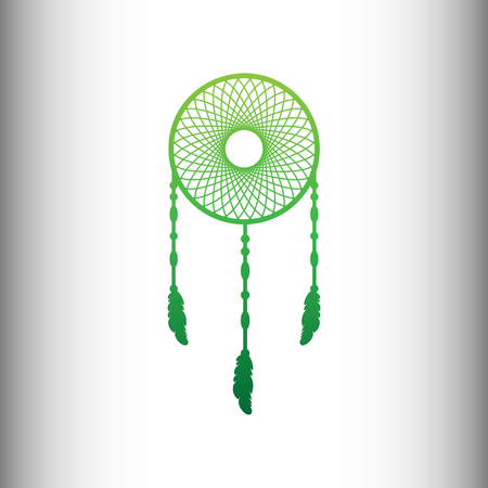 swelled: Dream catcher sign. Green gradient icon on gray gradient backround. Illustration