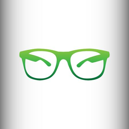 protective eyewear: Sunglasses sign. Green gradient icon on gray gradient backround.