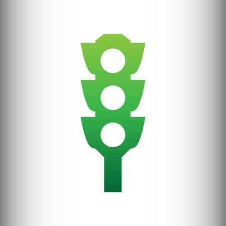 light backround: Traffic light sign. Green gradient icon on gray gradient backround.