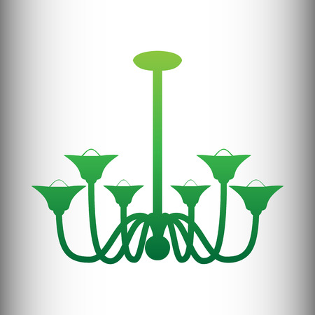 sconce: Chandelier simple icon. Green gradient icon on gray gradient backround.