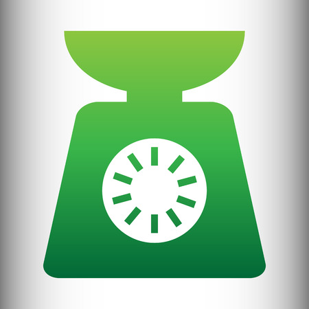 ounce: Kitchen scales icon. Green gradient icon on gray gradient backround. Illustration