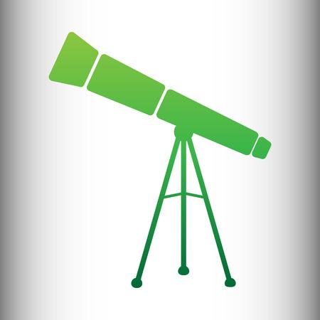 ocular: Telescope simple icon. Green gradient icon on gray gradient backround.