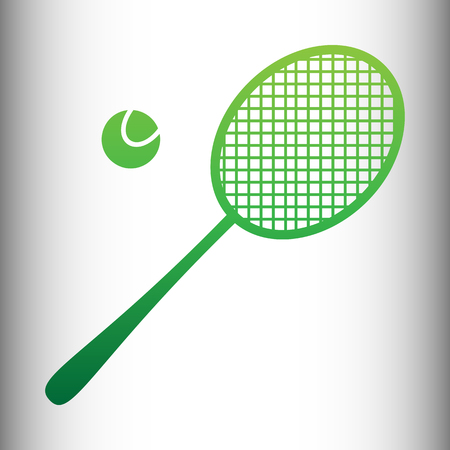 racquet: Tennis racquet icon. Green gradient icon on gray gradient backround.