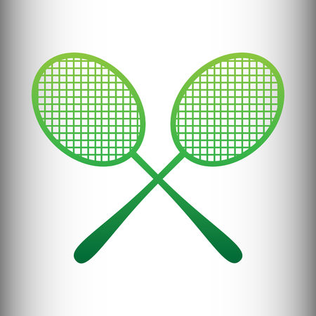 stretched: Tennis racquets icon. Green gradient icon on gray gradient backround.