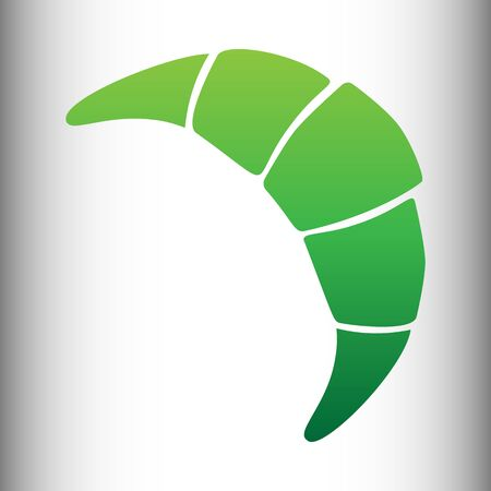 www tasty: Croissant simple icon. Green gradient icon on gray gradient backround. Illustration
