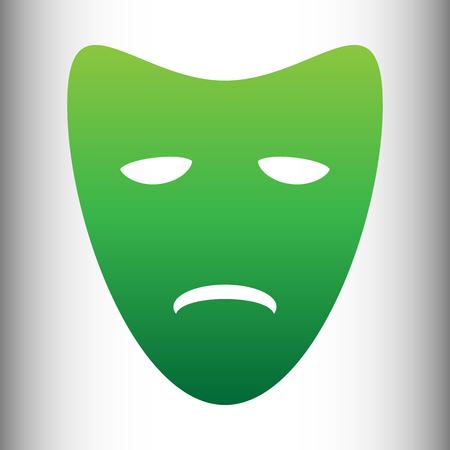 tragedy: Tragedy theatrical masks. Green gradient icon on gray gradient backround. Illustration