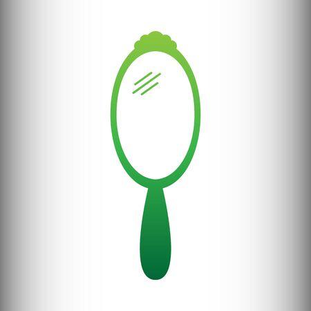 hand mirror: Hand Mirror Icon. Green gradient icon on gray gradient backround.