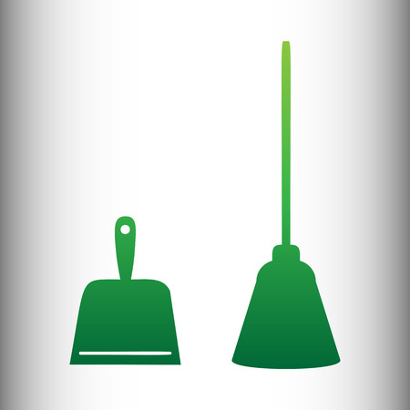 whisk broom: Dustpan vector icon. Scoop for cleaning garbage housework dustpan equipment. Green gradient icon on gray gradient backround. Illustration