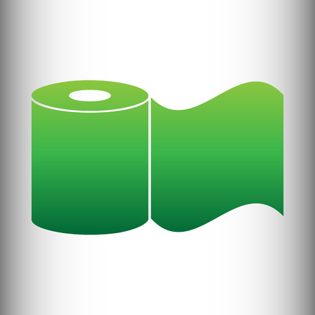 Toilet Paper Icon. Green gradient icon on gray gradient backround.