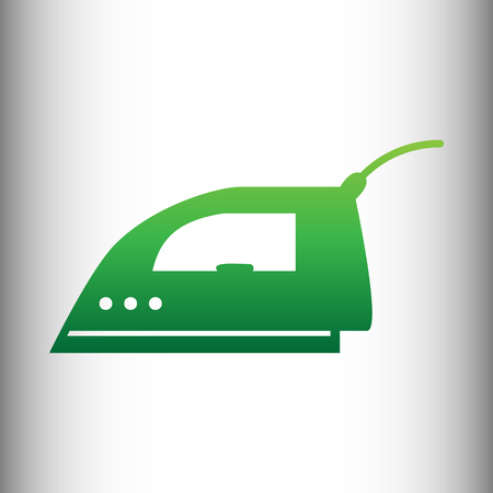 smoothing: Smoothing, Iron icon. Green gradient icon on gray gradient backround.