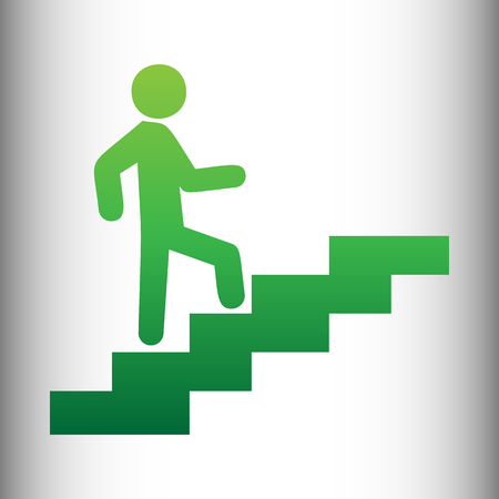 going green: Man on Stairs going up. Green gradient icon on gray gradient backround.