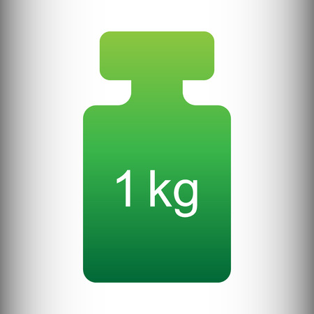 gram: Weight simple Icon. Green gradient icon on gray gradient backround.