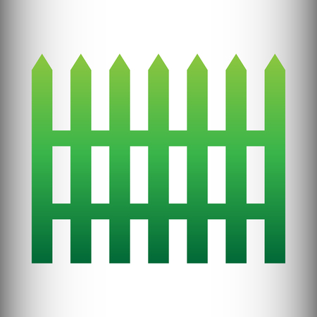 paling: Fence simple icon. Green gradient icon on gray gradient backround.