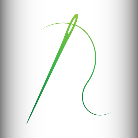needles: Needle with thread sewing needle, needle for sewing. Green gradient icon on gray gradient backround.