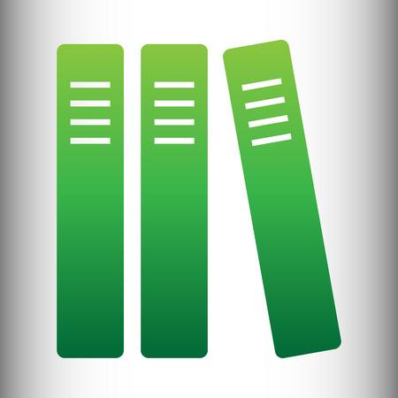 retain: Row of binders, office folders icon. Green gradient icon on gray gradient backround.