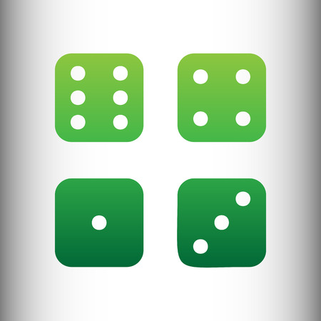 devil's bones: Devils bones, Ivories Icon. Green gradient icon on gray gradient backround. Illustration