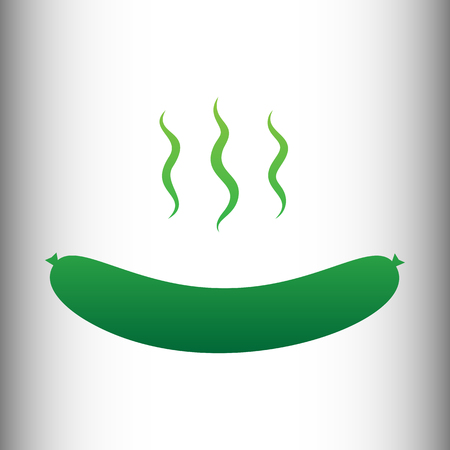 roast lamb: Sausage simple Icon. Green gradient icon on gray gradient backround. Illustration