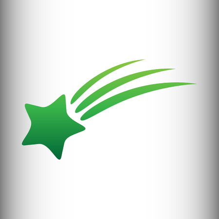starfall: Shooting star icon. Green gradient icon on gray gradient backround. Illustration