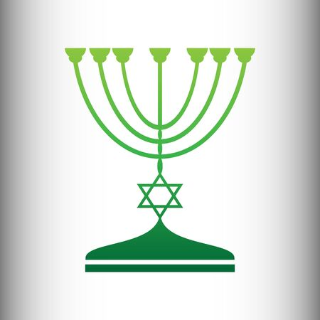 symbolics: Jewish Menorah candlestick in black silhouette isolated on white background. Green gradient icon on gray gradient backround.