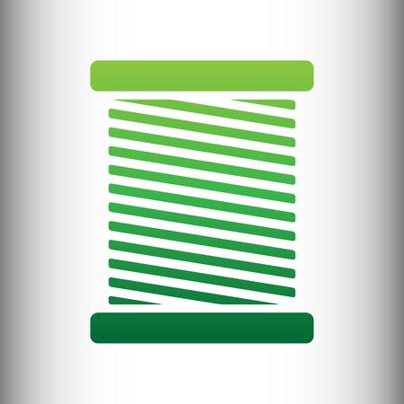 gray thread: Thread Icon. Green gradient icon on gray gradient backround.