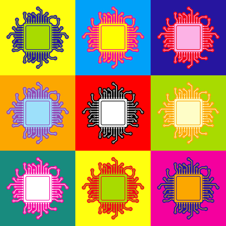 chipset: CPU Microprocessor. Pop-art style colorful icons set with 3 colors. Illustration