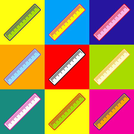 centimeter: Centimeter ruler sign. Pop-art style colorful icons set with 3 colors.