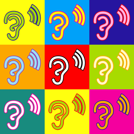 listener: Human ear sign. Pop-art style colorful icons set with 3 colors.