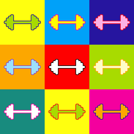forceful: Dumbbell weights sign. Pop-art style colorful icons set with 3 colors.