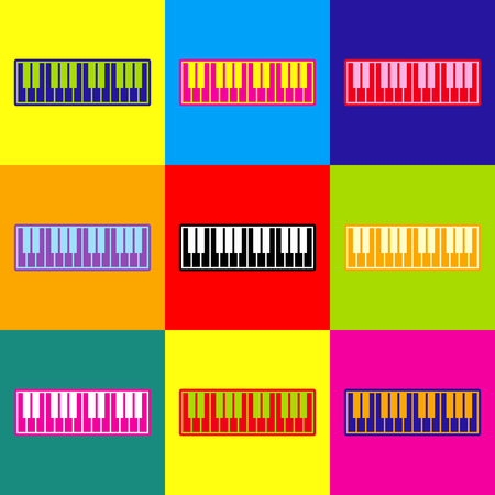 acoustically: Piano Keyboard sign. Pop-art style colorful icons set with 3 colors. Illustration