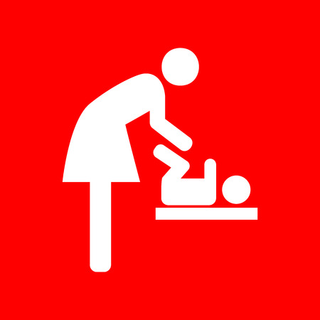 loo: Symbol for women and baby, baby changing. White icon on red background.