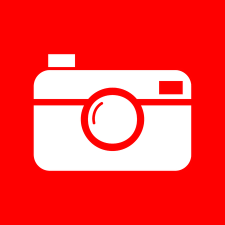 whim of fashion: Digital photo camera sign. White icon on red background.