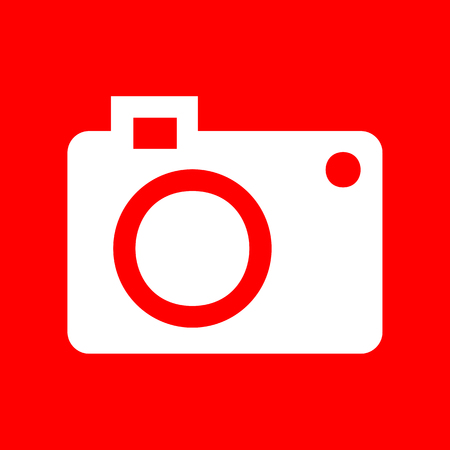 digital camera: Digital camera sign. White icon on red background.