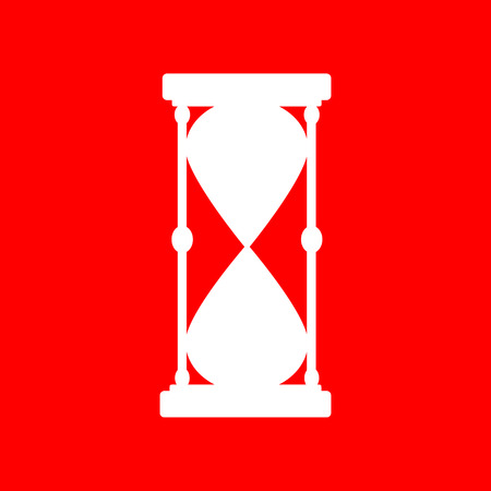 metering: Hourglass sign illustration. White icon on red background.