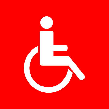 one man only: Disabled sign illustration. White icon on red background.