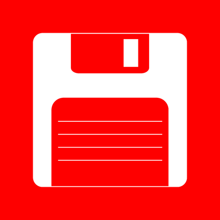 old pc: Floppy disk sign. White icon on red background.