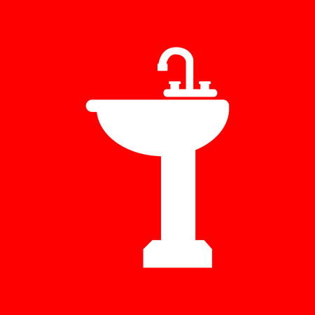 necessity: Bathroom sink sign. White icon on red background.