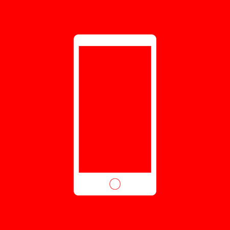 respond: Abstract style modern gadget with blank screen. Template for any content. White icon on red background.