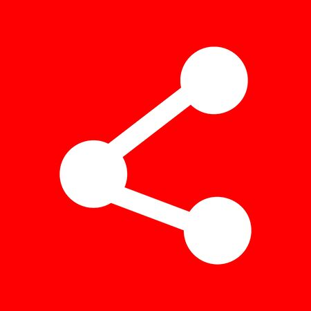 Share sign illustration. White icon on red background.  イラスト・ベクター素材