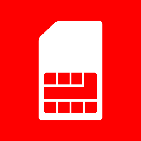 prepaid card: Sim card sign. White icon on red background. Illustration