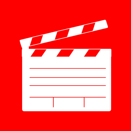 clap board: Film clap board cinema sign. White icon on red background.
