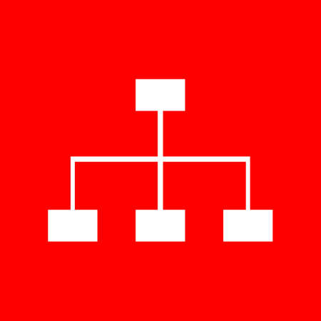 site map: Site map sign. White icon on red background.