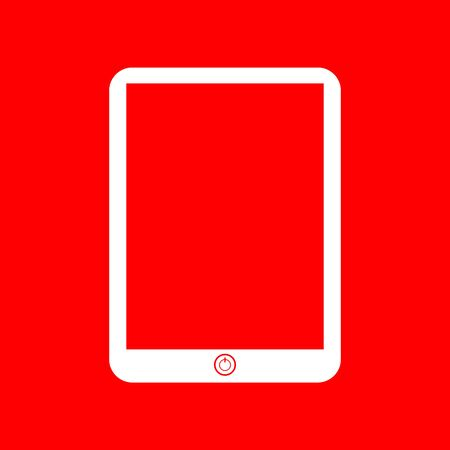touch sensitive: Computer tablet sign. White icon on red background. Illustration