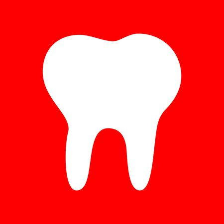 toothcare: Tooth sign illustration. White icon on red background.