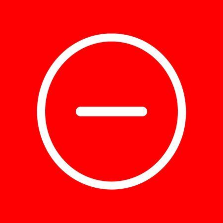 minus sign: Negative symbol illustration. Minus sign. White icon on red background.