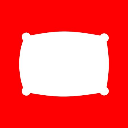 cushioned: Pillow sign illustration. White icon on red background.