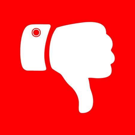 disapprove: Hand sign illustration. White icon on red background. Illustration